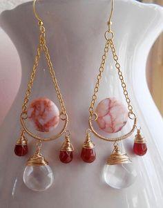 Arlette gemstone chandelier earrings long dangle & drop