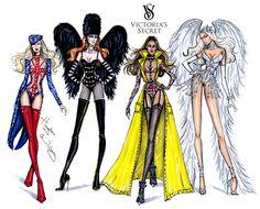 Victoria's Secret 2014 collection by Hayden Williams. Cool Britannia, Dark Angel, Perfectly Punk & Winter White Angel.
