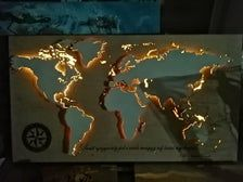 Maps of the world with led light Plywood Panels, Custom Map, Wood Paneling, Beautiful World, Living Room Designs, Colorful Backgrounds, Craft Supplies, Wall Decor, Lights