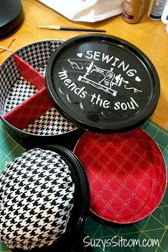 Make a DIY cookie tin sewing kit - it's an easy way to upcycle your cookie tins! Reuse cookie tins to organize your supplies, create a travel sewing kit, or as a creative sewing kit gift idea. #IdeasForTheHome #Kenarry Sewing Kit, Sewing Hacks, Sewing Studio, Sewing Tutorials, Best Teacher Gifts, How To Make Purses, Cookie Tin, Ways To Recycle, Recycled Crafts