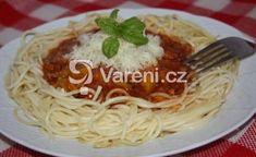 Recept na rychle a chutně připravené boloňské špagety. Vareni.cz - recepty, tipy a články o vaření. Bolognese, Spaghetti, Ethnic Recipes, Food, Lasagne, Meals, Noodle