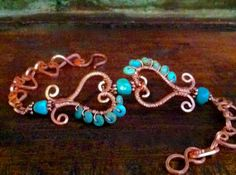 Broken Hearts Bracelet: Vibrant Turquoise Wire-Wrapped Around Handshaped Copper Hearts, OOAK