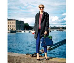 Colorful Fall Outfit Ideas: Mixed Media. You're professional but so not boring--fire the black trousers in favor of electric-blue cropped pants, which are office-friendly when paired with sleek, solid pumps. #SelfMagazine