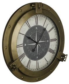 This nautical beauty, the Celestyn Clock, features a prominent compass rose and romantic roman numerals. Surrounded by a bold bronze finish its nautical design will be a perfect accent on your walls.