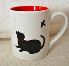 Large ND EXCLUSIVE Mug BLACK CAT Silhouette BIRD CHASING Red Inside SWEET!