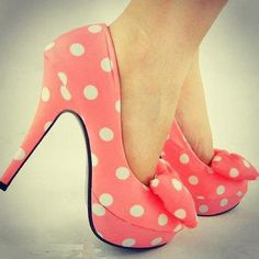 #pink #dots #heels #shoes