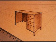 How to draw - two point perspective - office table - YouTube