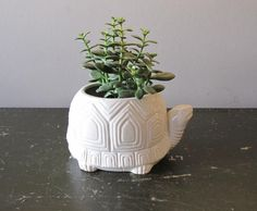 White Geometric Turtle Planter - Made in JAPAN