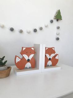 Fox Bookends Orange and White Gender Neutral Woodland Nursery Woodland Kids Decor Childrens Bookends Fox Nursery Forest Themed Baby Fox Nursery, Woodland Nursery Decor, Woodland Animal Nursery, Fox Themed Nursery, Forest Nursery, Animal Theme Nursery, Nautical Nursery, Girl Nursery, Childrens Bookends