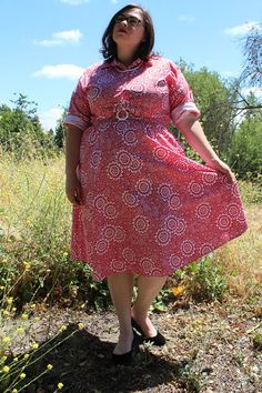 Plus Size  Vintage Red & White Floral Shirt Dress by TheCurvyElle, $45.00
