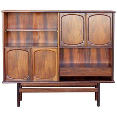 Scandinavian Modern Rosewood Drop-Front Secretary Bookcase by Gerhard Berg | 1stdibs.com