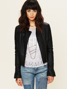 Free People Quilted Sleeve Vegan Leather Jacket at Free People Clothing Boutique - $168