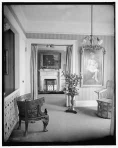 [Room with painting of child, roses, and portiere] | Library of Congress