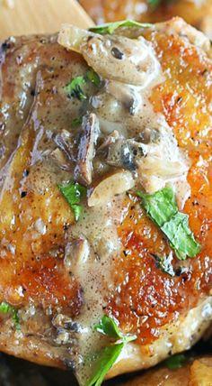 Chicken Thighs with Mushroom Garlic Sauce