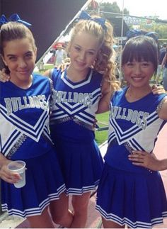 Brec Bassinger (middle)- Hello! I'm brec. I'm 16 and single. I'm captain of the cheer team. I'm one of the guys since my brother is really popular and I've had to learn how to hang with them 24/7 *laughs a little*. I'm super nice, intro?