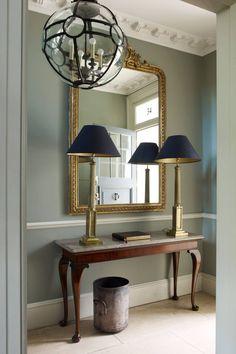 Grey hallway ideas apartment to home foyer design, wainscoti Grey Hallway, Hallway Mirror, Hallway Console, Hallway Ideas Entrance Narrow, Hallway Furniture, Entry Hall, Foyer Ideas, Hall Mirrors, Wallpaper In Hallway