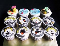 Calvin & Hobbes painted on fondant for cupcakes..