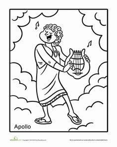 """This Greek god coloring page features the infamous Apollo, who was an early example of what we'd now call an """"overachiever"""". He was even the god of music! Greek Mythology Tattoos, Roman Mythology, Ancient Greece For Kids, Greek Crafts, Coloring Pages, Coloring Worksheets, Principles Of Art, Albrecht Durer, Orthodox Icons"""
