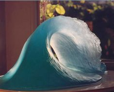 Cast clear resin Water Features, Fountains and Cascades sculpture by artist Masha Marjanovich titled: 'Ocean Surf (Clear resin Roller Wave Indoors/Outdoors sculptures/statue)'