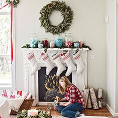 Loving these colors for Christmas mantel