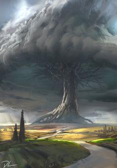 Giant Tree by Denis Loebner High Fantasy, Fantasy City, Fantasy Places, Fantasy Kunst, Sci Fi Fantasy, Fantasy World, Fantasy Artwork, Fantasy Art Landscapes, Fantasy Concept Art