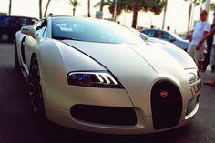 White Bugatti with Custom Lights