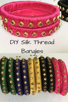 New Jewerly Making Ideas Handmade Etsy Ideas Silk Thread Bangles Design, Silk Thread Necklace, Silk Bangles, Thread Jewellery, Bridal Bangles, Beaded Jewelry, Bangle Set, Bangle Bracelets, Thread Art