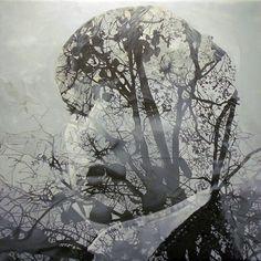 Double exposure styled paintings of Pakayla Rae Biehn.