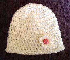 Handmade Crocheted Hat For Newborn Baby Girl