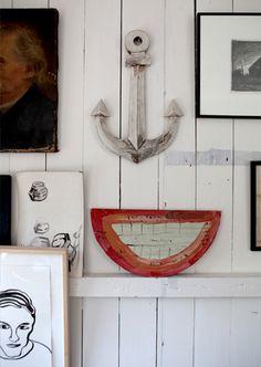 A decorative anchor is a nod to the house's former inhabitant. John Derian's Cape Cod Home - a 1789 sea captain's house on Provincetown's main drag, facing the bay.  Read More http://www.bonappetit.com/magazine/slideshows/2012/06/john-derian-cape-cod-travel-tour-slideshow#ixzz21jJgFb6L