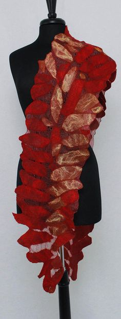 Felted Silk Scarf , Nuno Felted Silk Scarf, Wool Eco shawl ,Boho Fiber Art Wrap, OOAK Shawl Dark Red, Flame Scarlet, Turmeric Yellow merino fairy multicolor Fiber Art. Tthis piece is hand dyed and nuno felted with fine merino wool with silk fibers on natural silk gauze, for a flow, airy