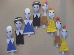 Flourishing: Thanksgiving Craft - I made the Pilgrims from http://spoonful.com/crafts/spoon-pilgrims, but I decided to add Native Americans!  So cute!