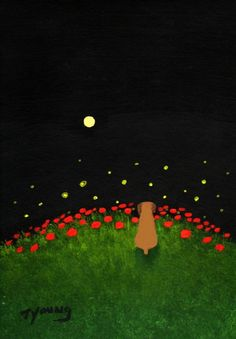 Boxer FIREFLIES AND FLOWERS art print by Todd by ToddYoungArt, $12.00