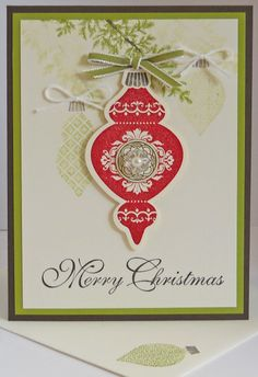 Ornament Christmas July 2012 - Ornament Keepsakes, Lovely As A Tree & Greetings of the Season stamp sets; Old Olive grosgrain; Faceted buttons with self-adhesive pearl. Stamped Christmas Cards, Stampin Up Christmas, Noel Christmas, Xmas Cards, Christmas Greetings, Handmade Christmas, Holiday Cards, Christmas Ornaments, Christmas Decor