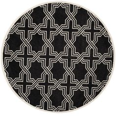 Amherst Anthracite/Ivory (Grey/Ivory) 7 ft. x 7 ft. Indoor/Outdoor Round Area Rug