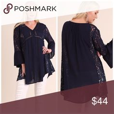 Date Night Sexy Top-Blue Bell Sleeved Tunic with Lace and Crochet Details. Also in Black! Tops Tunics