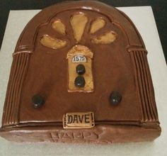 This radio cake combines old fashioned style with the name of the station 1575 that hes involved with, done for a weekend away in the lakes as a surprise. Yummy surprise !   radio birthday cake