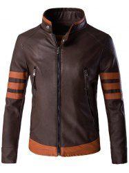 Zippered Stripe Spliced Faux Leather Jacket For Men (COFFEE,2XL) | Sammydress.com Mobile
