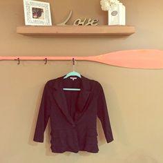 Black blazer Soft stretchy material. Small ruffles on bottom Charlotte Russe Jackets & Coats Blazers