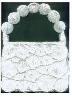 Falando de Crochet - Gráficos: BOLSA SOCIAL BRANCA DE RODELAS DE CROCHE