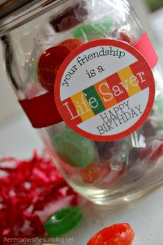Such a sweet idea for a friendship gift and it would look great sitting on a desk or kitchen counter. Don't want to hassle cutting and glue? Use Avery Wraparound and Round Labels along with free designs and templates at avery.com/print to personalize your own jar.