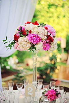 Elevated peony centerpiece | Photo by Arina B. Photography