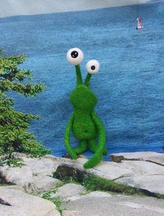 Monster Toy, Needle Felted Monster Pet, Wool Toy, Handmade Monster, Soft Sculpture, Art Doll