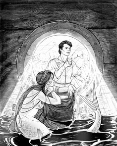 """""""The little mermaid swam right up to the cabin window, and each time the swell lifted her up, she could look through the mirror-clear windows where the many people stood in fine array, but the handsomest even so was the young prince with the large. Large Black, Black And White, Mermaid Swimming, Mermaid Pictures, Mermaid Drawings, Under The Surface, Young Prince, Merman, Ariel The Little Mermaid"""