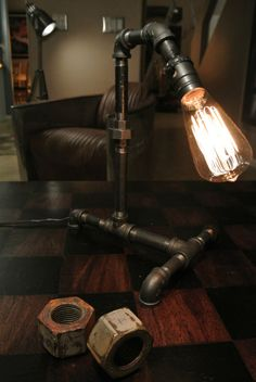 IronPipeLight Industrial Table Lamp by IronPipeLights on Etsy, $175.00