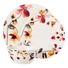 This dinnerware set is a great base to add some minimal or custom pieces to.   Threshold™ Floral Round 12 Piece Dinnerware Set - Multicolor