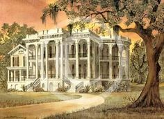 by Henry Neubig, the Louisiana mud painter - all his pigments are taken from the rural Louisiana soil - this is a painting of Nottoway Plantation.