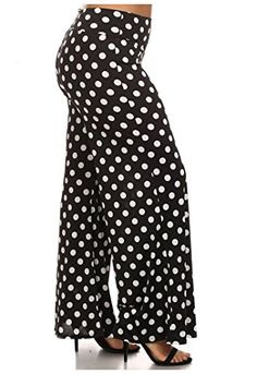 e50c0e70d Allora Womens Plus Size High Waist Palazzo Pants 2X Black White Polka dots  ***