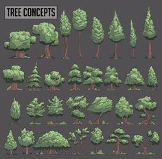 Drawing Tutorial Drawn Pine Tree pixel art 1 - 736 X 721 Concept Art Tutorial, Digital Art Tutorial, Digital Painting Tutorials, Trees Drawing Tutorial, How To Pixel Art, Cartoon Trees, 2d Game Art, Pixel Art Games, Environment Concept