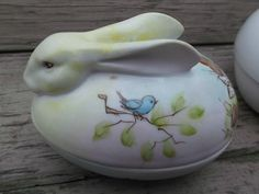 Hand Painted Bunny Rabbit Vintage Porcelain Trinket Candy Box Signed  offered by rubylane shop Saltymaggie's Treasures